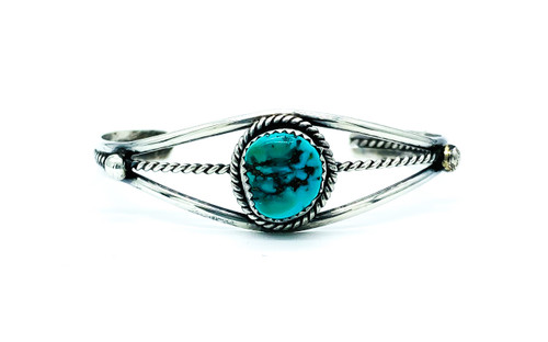 Vintage Native American Navajo Old Pawn Sterling Turquoise Nugget Cuff Bracelet
