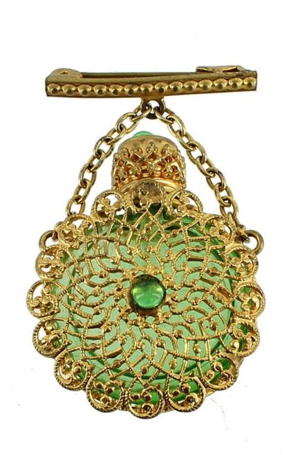 ANTIQUE 1920'S CZECH FILIGREE DECO POSY MINIATURE PERFUME BOTTLE LAPEL PIN GREEN
