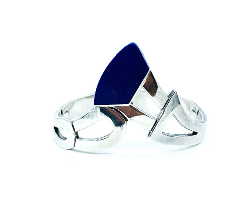 "Vintage Heavy Mid Century Taxco Sterling Silver Lapis Lazuli Bangle Bracelet 7"""
