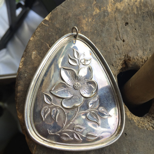 Vintage Sterling Towle 1973 12 Days of Christmas 3 French Hens Flowers Ornament