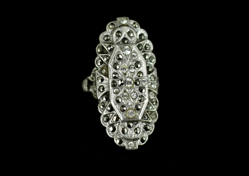 Antique Deco Ornate Sterling Silver Marcasite Crystal Statement Ring sz 6.75