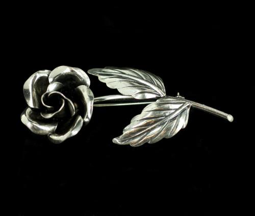 "Vintage Deco Danecraft Sterling Flower Rose Pin Brooch 2.5"""