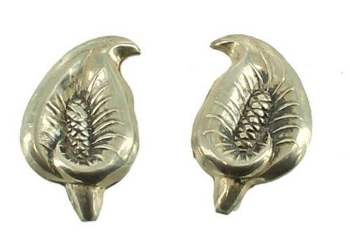 Vintage Sterling Scandinavian Design Calla Lily Mid Century Screw Back Earrings