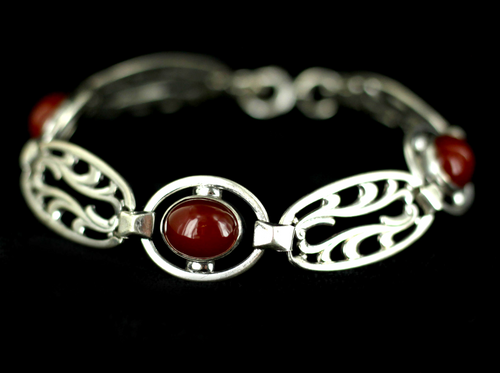 "Antique Art Nouveau Sterling Carnelian Cabochons Scroll Links Bracelet 7"""