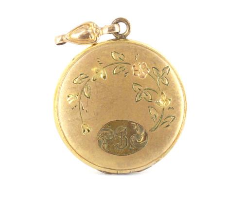 Vintage Deco 1941 GF Gold Filled Floral Locket Engraved On Front And Back