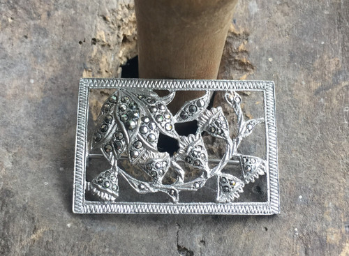 Antique Art Deco Marcasite Sterling Blossom Flower Silhouette Stunning Pin 1.75""