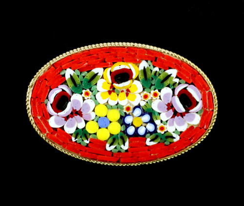 """Vintage Micro Mosaic Millefiori Floral Flowers Coral Large Oval Pin Brooch 2"""""""