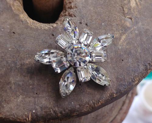 "Vintage Weiss Marquise Rhinestones Star Pattern Pin Brooch 1.5"""