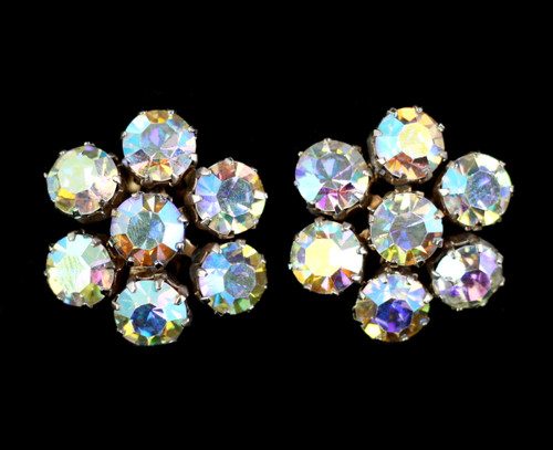 Vintage Weiss Large Aurora Borealis Rhinestone Star Clip Back Earrings