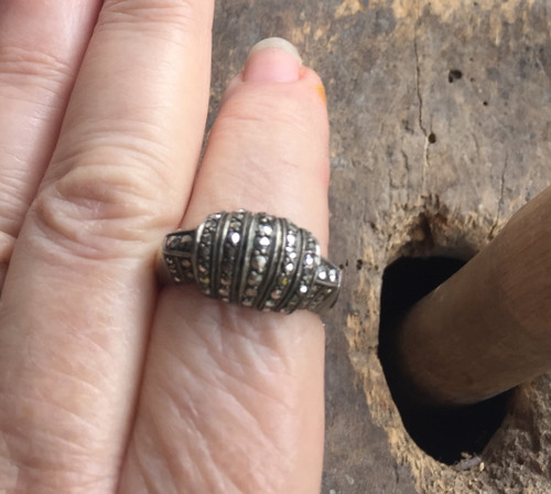 Vintage Sterling Marcasite Domed Ribbed Band Ring 8.5 Mid Century Design