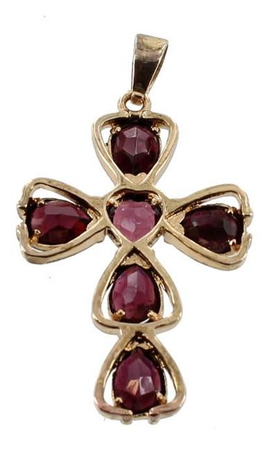 """Antique Bohemian Garnet ~ Stunning Spelter Gilt Cross Pendant 1 3/4"""" H  .51cttw"""