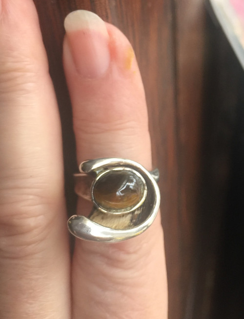 Vintage 50's Sterling Mod Organic Design Ring 1.76ct Tiger's Eye sz 6.75 Cool!