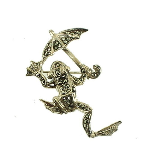 """Vintage Sterling Marcasite Jumping Leaping Frog Pin With Umbrella Darling 1 3/4"""""""