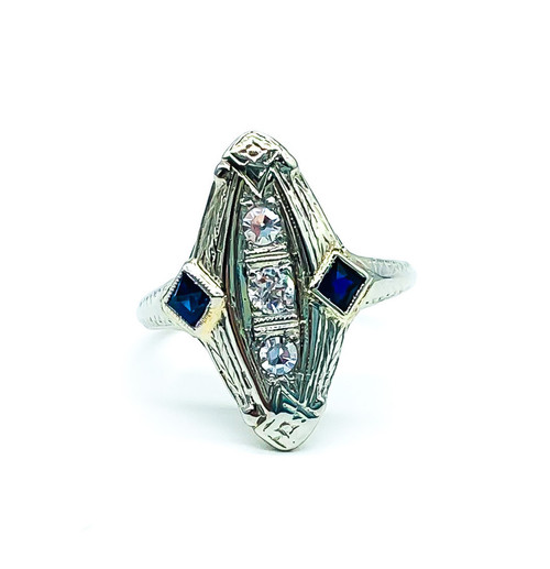 Antique Art Deco 18K White Gold Diamond Sapphire Geometric Ring Size 4.5