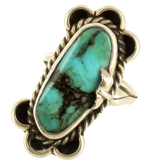 Antique Old Pawn Navajo Large Oval Morenci Turquoise Native American Ring Sz 6