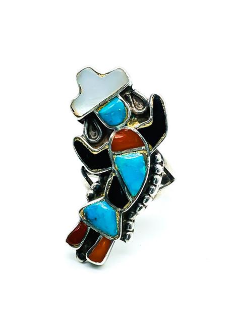 Vintage Zuni Old Pawn Sterling Silver Inlay Gemstone Kachina Ring Size 4.25