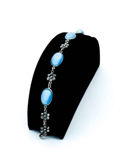 Antique Mission Arts Crafts Sterling Silver Blue Moonstone Glass Flower Bracelet