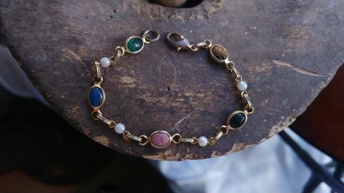 "Antique Deco Gold Tone Egyptian Revival Multi Gemstone Pearl Scarab Bracelet 7"""