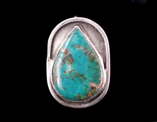 Vintage  Hand Made Sterling Native American Kingman Turquoise Rain Drop Pendant