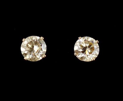 Vintage 14k Gold 1ct Champagne Diamond Solitaire L/M Brown Body Color Post Earrings