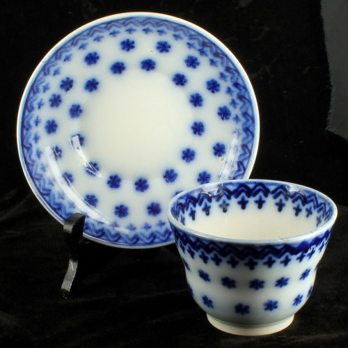 Antique Staffordshire Blue Spongeware Amish Snowflake Cup & Saucer 19thC