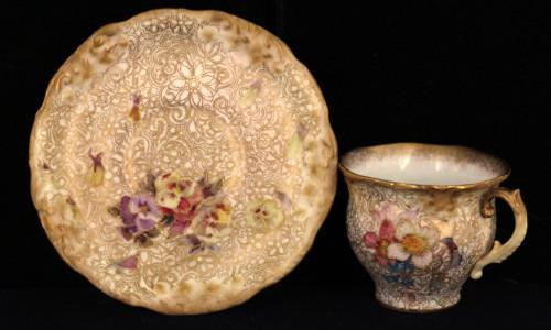 Antique  Doulton Burslem George White Floral  HP Cabinet Demitasse Cup & Saucer 1880