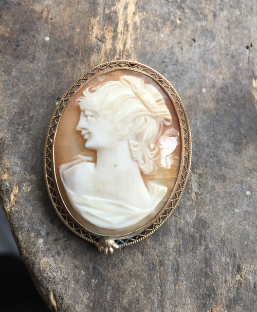 Antique 12k Gf Gold Filled Filigree Oval Shell Cameo Lady Fancy Hair Pin Pendant