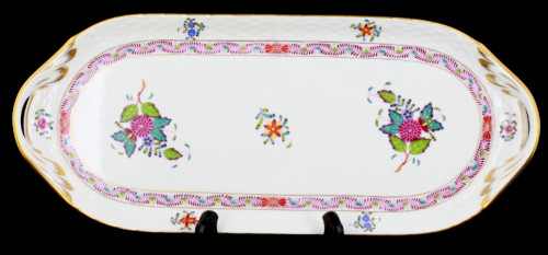 Vintage Herend Hungary Hand Painted Colorful Chinese Bouquet Sandwich Cake Tray