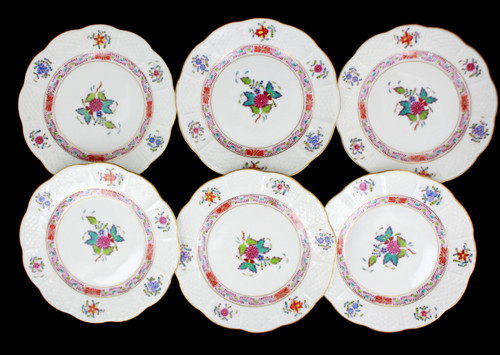 VTG Herend Hungary Hand Painted Colorful Chinese Bouquet Sandwich 6 Small Plates