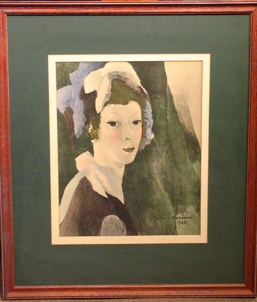 Vintage Marie Laurencin French Lady With Hat Print - Gauzy Veils Thoughtful 1928