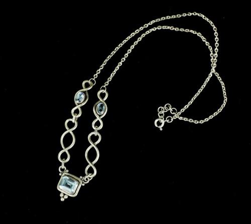 "Vintage Bali Sterling 3 Blue Topaz Cabochons Twist Design Chain Necklace 16.5"""
