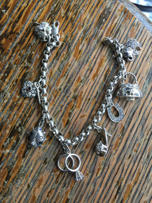 Vintage Sterling Rolo Chain Charm Bracelet Lady Bug, handbag Locket, Heart 7.5""