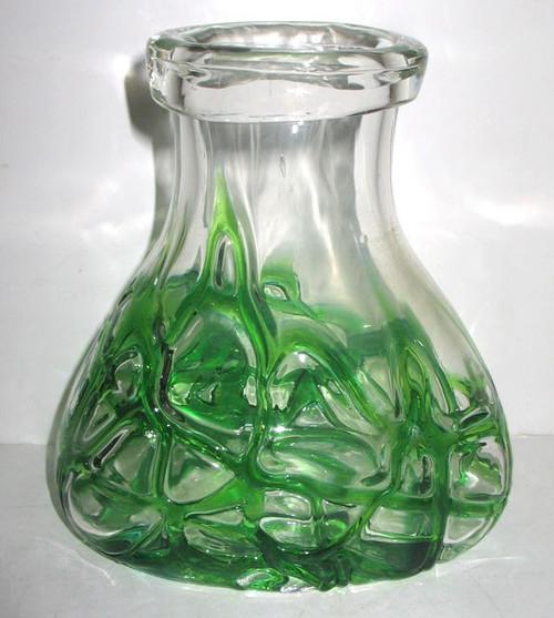 "Antique Jugenstil Art Glass Loetz Pallme Konig Threaded Vase Emerald Green 7"""