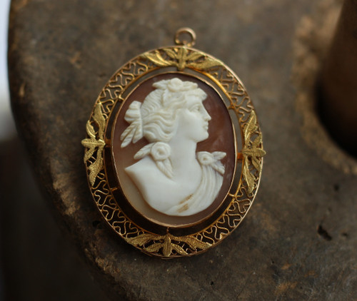 Antique 10k Yellow Gold Cameo Carved Shell Brooch Pin Pendant 1.75""