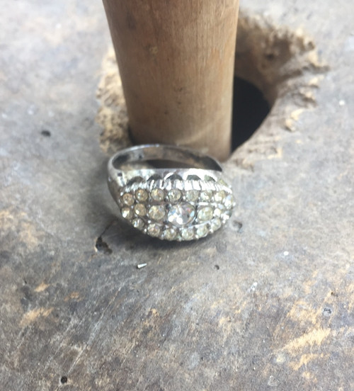 Antique Deco Sterling Paste Crystals -Looks Real-Wedding Band Ring 7.25 Fab Fake
