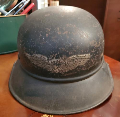 German WWII M38 Luftschutz Civilian Air Defense Helmet