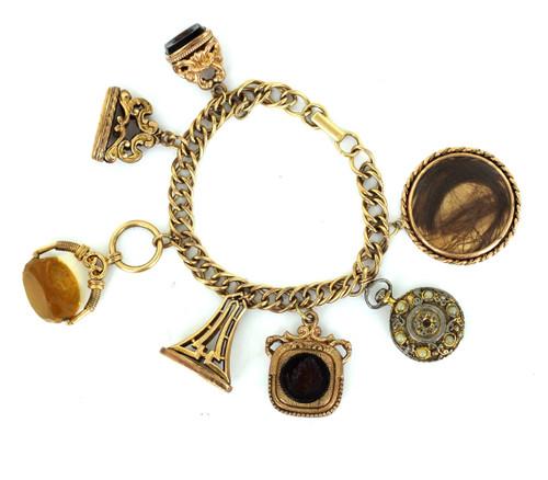 "Antique 12k Gold Filled GF Victorian Intaglio Mourning Hair Charm Bracelet  7.25"""