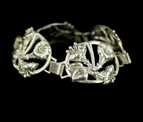 """Antique Sterling Silver Arts and Crafts Danecraft Floral Open Work Bracelet 7"""""""