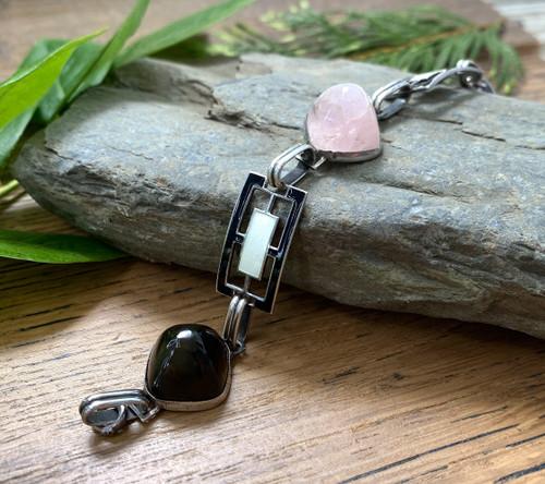 Antique Art Deco Sterling Silver Enamel Sugarloaf Cabochon Quartz Onyx Bracelet
