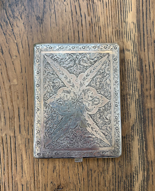 Antique Victorian Aesthetic Movement Sterling Silver Engraved Cigarette Case