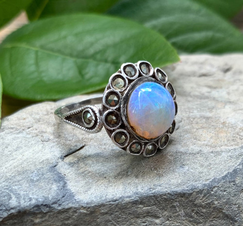 Antique Art Deco Sterling Silver Australian 1.7ct Jelly Opal Marcasite Ring 4.75