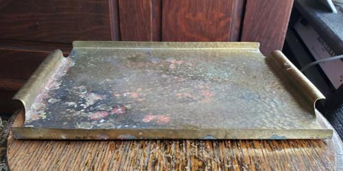 Vintage Brass Copper Textured Hand-Hammered Serving Tray - Haganauer Esque