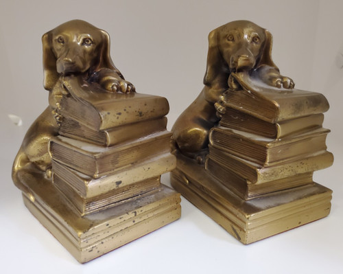 Metal Dachsund Dogs Chewing Books Vintage Bookends or Doorstop - Cute Hounds!