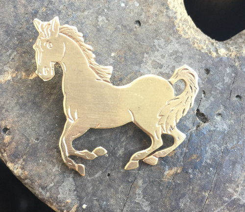 """Vintage Sweet Sterling Gold Galloping Happy Horse Equestrian  Pin Beau 1 1/2"""""""