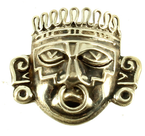 Vintage Sterling Mexico Modernist Aztec Warrior Face Mask Pin Signed RBZ 1960's