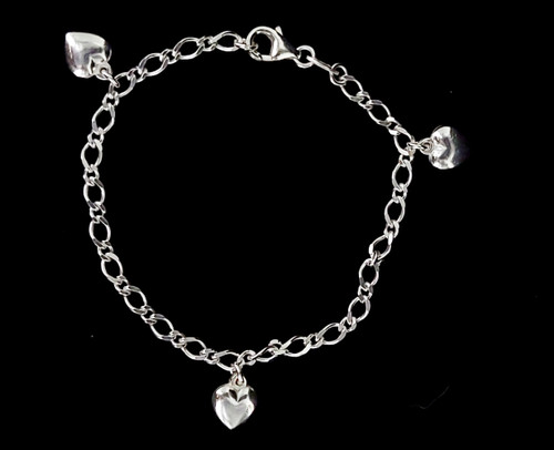 Vintage Sterling Silver Curb Chain Puffy Heart Charm Bracelet 7""