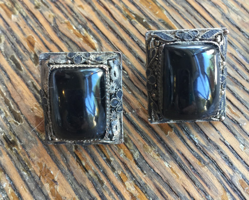 Antique Chinese Export Silver Onyx Earrings-Later Changed to Post -Wearable