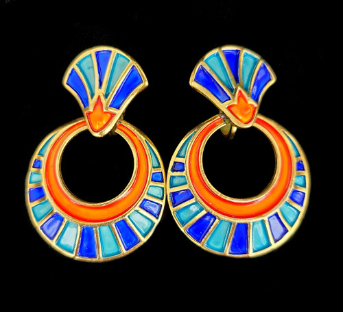 Vintage Trifari Rare 1960s Egyptian Revival King Tut Orange Blue Enamel Earrings