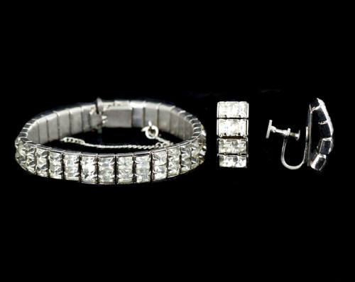 Antique Deco Paste Rhinestone Flexible Silver Tone Bracelet Earrings Set