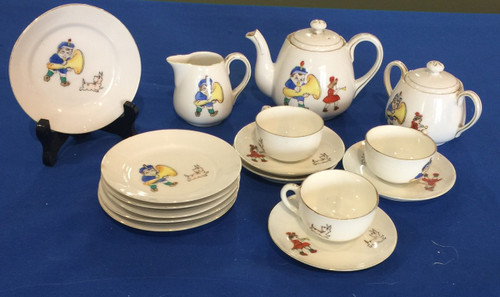 Antique Nippon Children's Porcelain Tea Set Children & Dog 16 Pcs~ Made in Japan